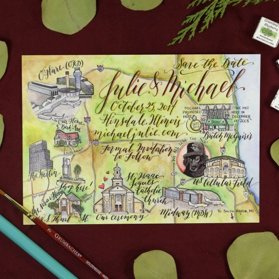 Kaitlin Style calligraphy is the star of this illustrated Save the Date map!