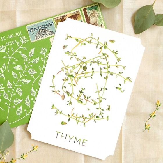 "The 5""x7"" Thyme card is wonderful for those who have an interest in cooking or gardening! It doubles as beautiful kitchen artwork."