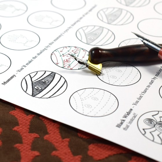 After the square drills, you'll work on making circular drills. Feel free to use your pen of choice!
