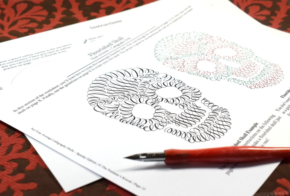 About the Not Your Average Calligraphy Drills: Spooky Edition Packet | The Postman's Knock