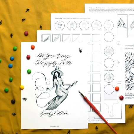 This 17-page packet of calligraphy drills is especially fun to fill out around Halloween!