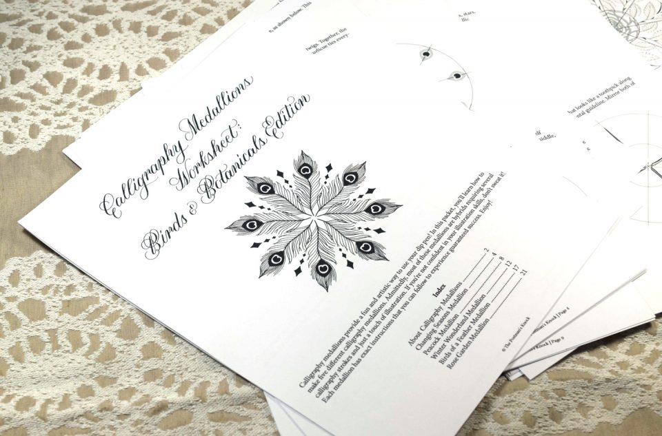 Introducing the Calligraphy Medallions Worksheet: Birds & Botanicals Edition | The Postman's Knock