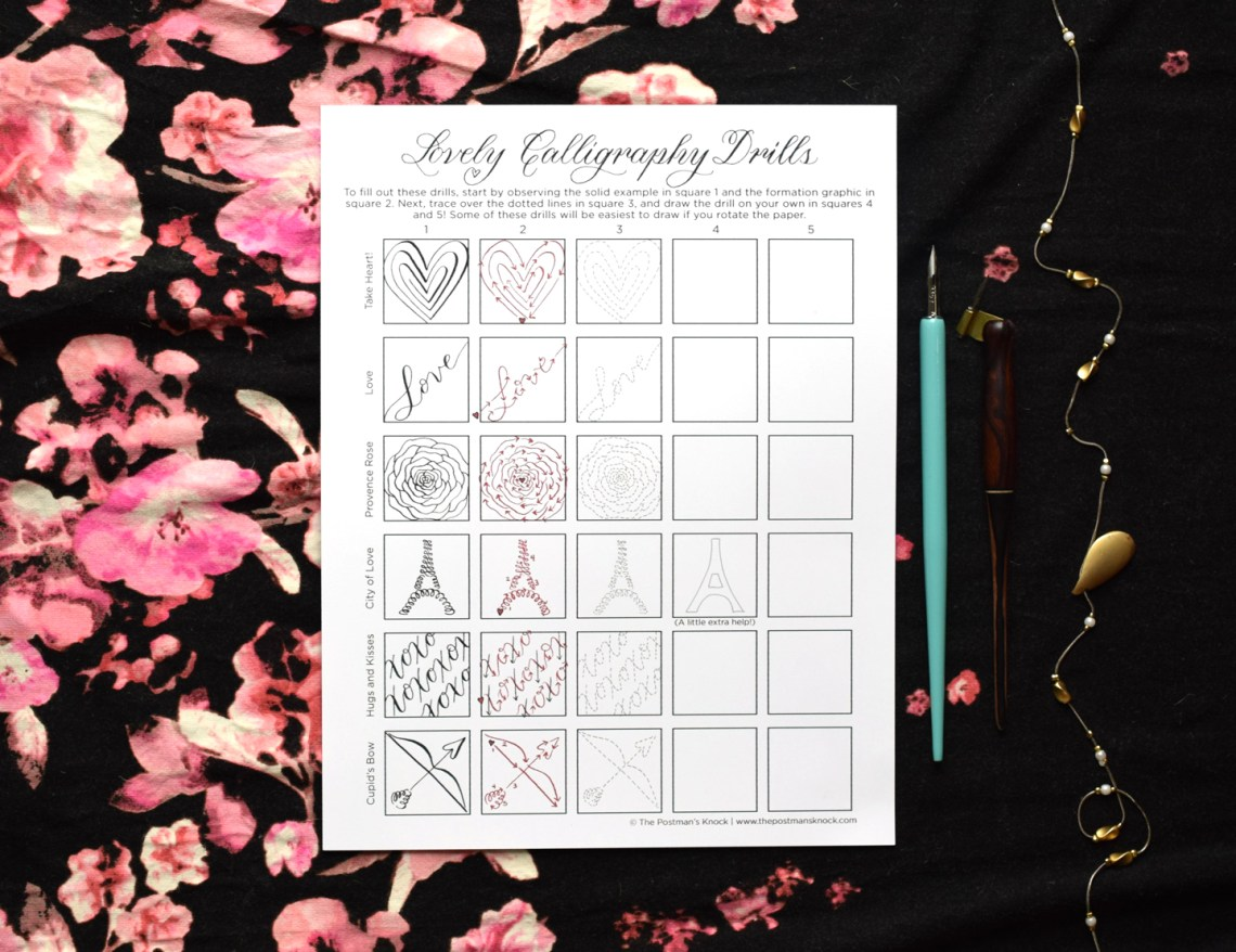 """Printable """"Lovely Calligraphy Drills"""" for Valentine's Day 