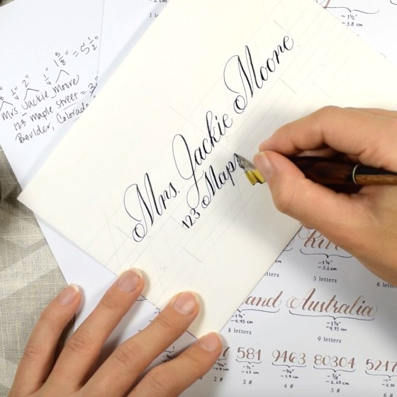 One of my favorite features of this vide course is the instruction over how to create a perfectly centered envelope!