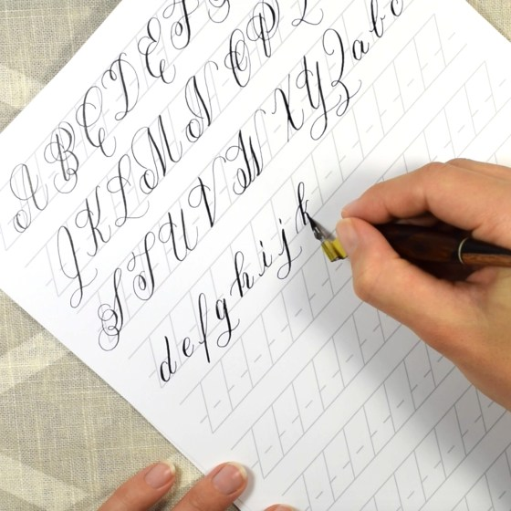 I'll show you how to write out every Janet Style calligraphy letter in real time! (I'll also show you how to write out each of the worksheet's Word Practice words!)