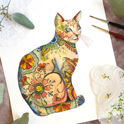 Watercolor Henna Cat Illustration Tutorial