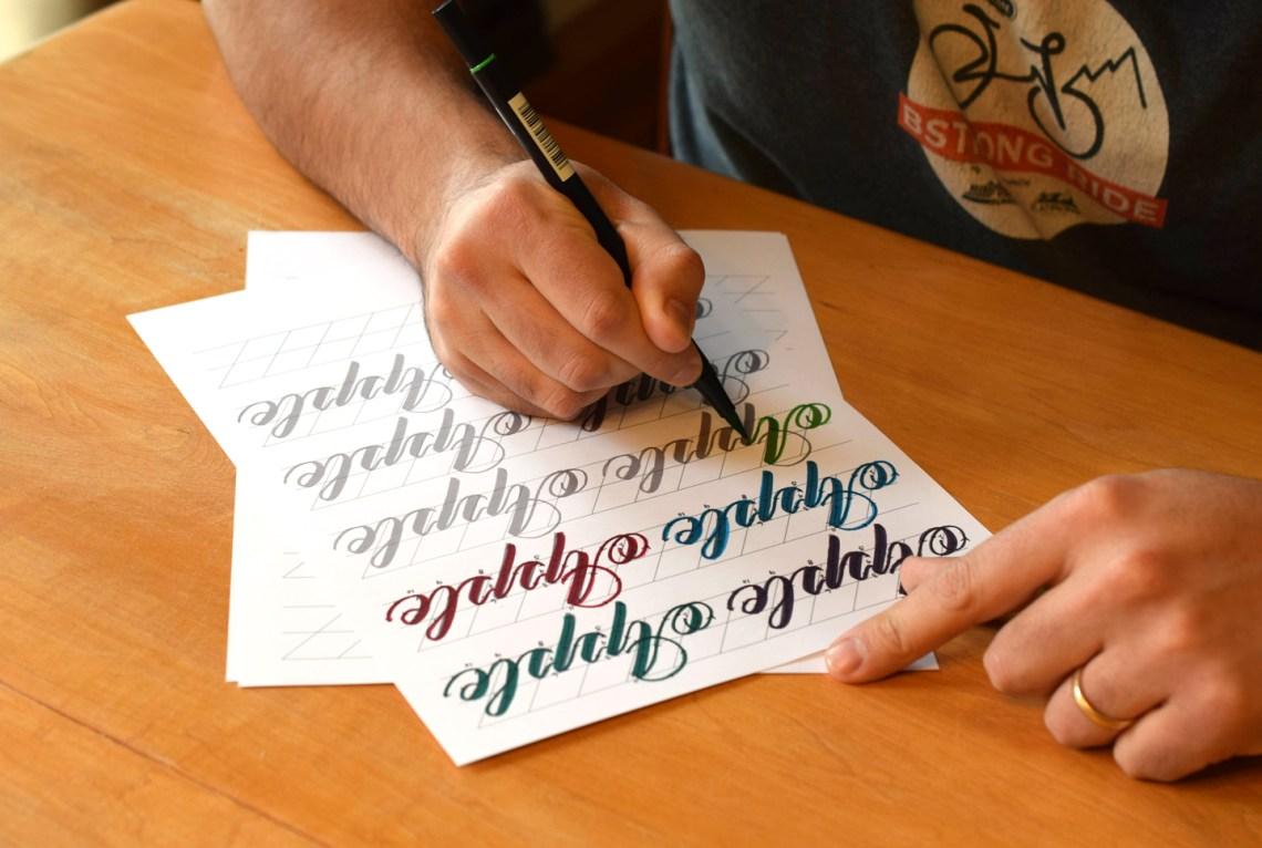 Janet Style Brush Pen Calligraphy Worksheet Set   The Postman's Knock