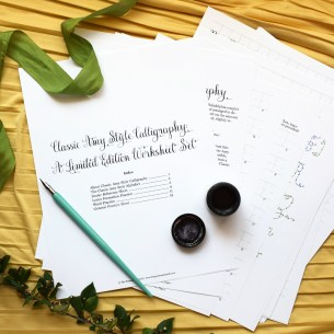 This 18-page printable worksheet set will teach you how to make loopy and playful Classic Amy Style calligraphy!