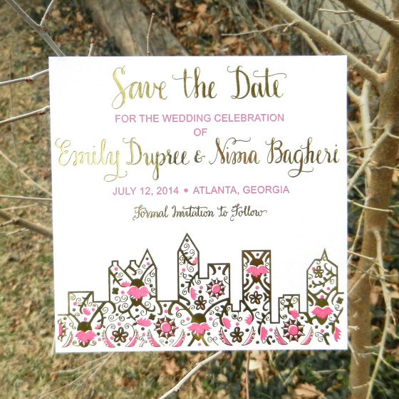 This is Classic Amy Style calligraphy on a save the date invitation.