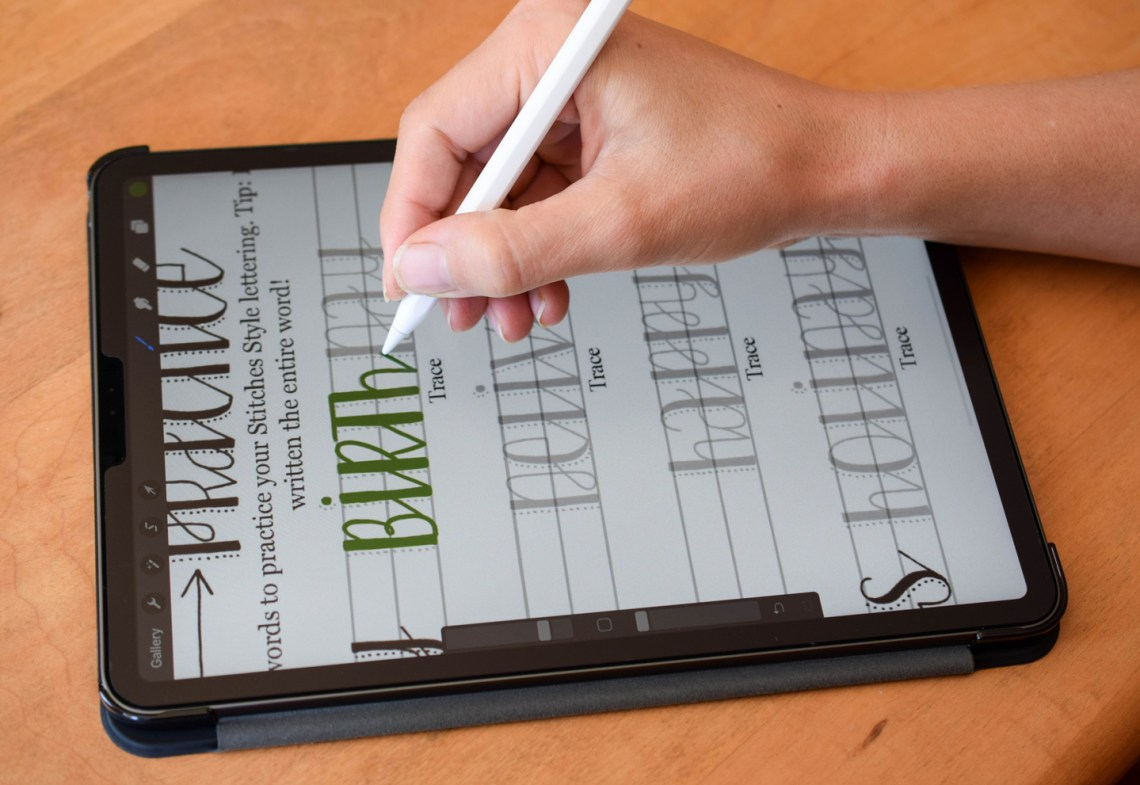Stitches Hand Lettering Procreate Worksheet   The Postman's Knock