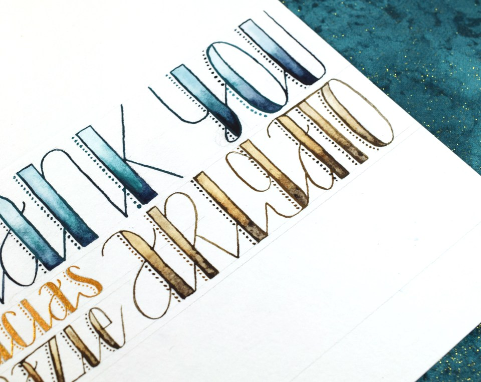 """""""Stitches"""" Hand Lettered Thank You Card Tutorial   The Postman's Knock"""