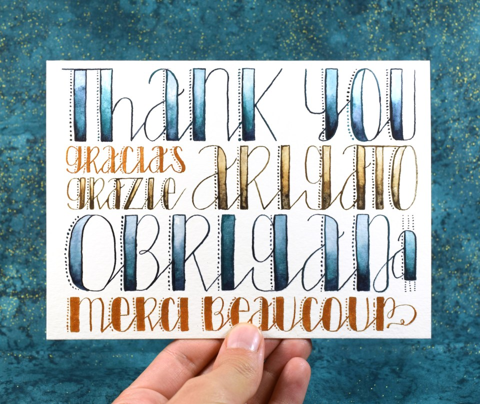 """Stitches"" Hand Lettered Thank You Card Tutorial 