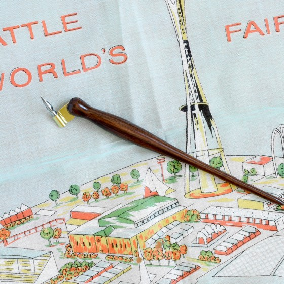 """I prefer to use this same """"Rodger pen"""" at home! A Bolivian Rosewood beauty fitted for the Brause EF66 nib."""