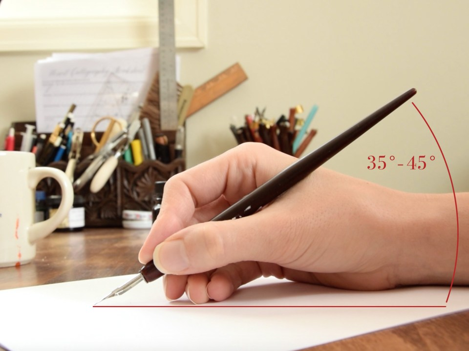 The Proper Angle to Hold a Calligraphy Pen