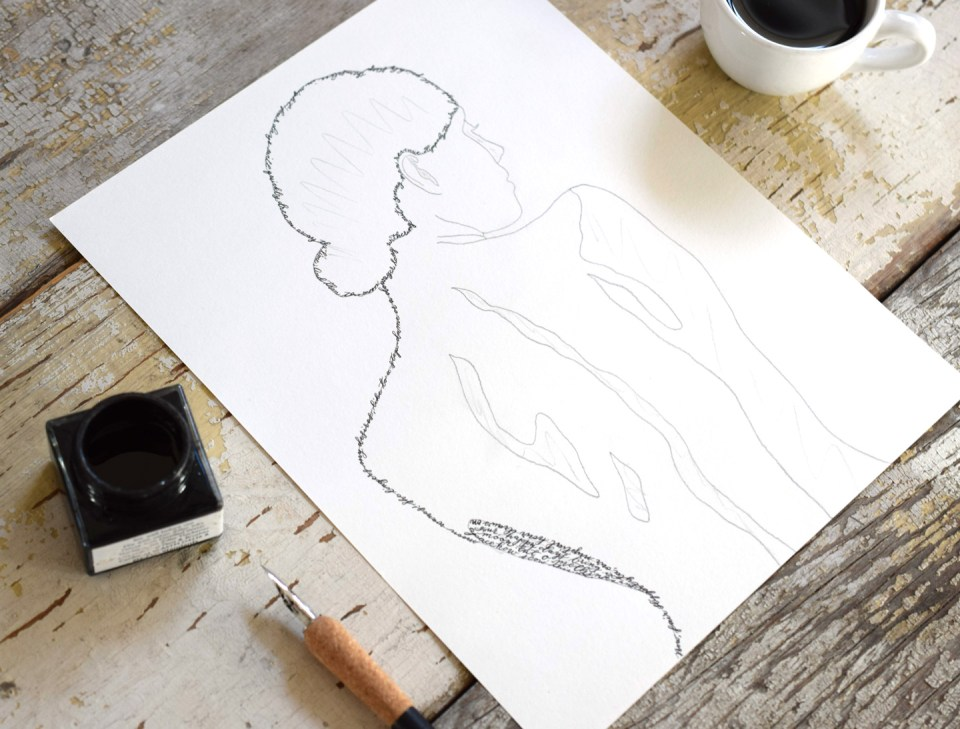 Calligraphy Artwork Tutorial: Woman's Silhouette | The Postman's Knock