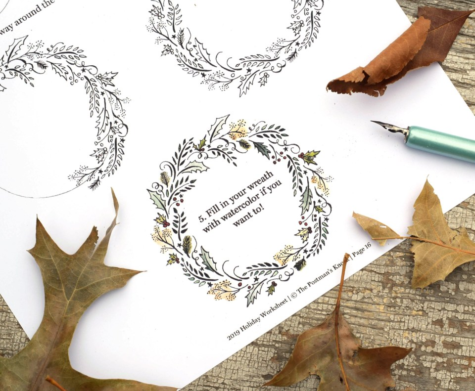Flourished Wreath from the 2019 Holiday Calligraphy Worksheet