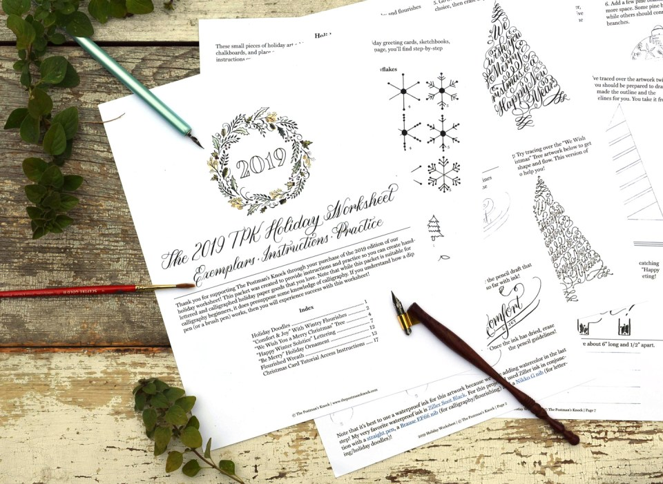 TPK's 2019 Holiday Calligraphy Worksheet Set