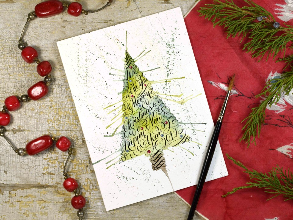 Watercolor Burst Christmas Tree Card Tutorial