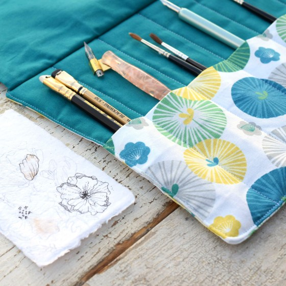 "The ""Boho Beach"" pen roll features six reinforced pen/brush pockets that will serve you for years to come!"
