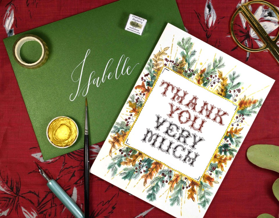 """Winter Abundance"" Watercolor Thank You Card Tutorial"