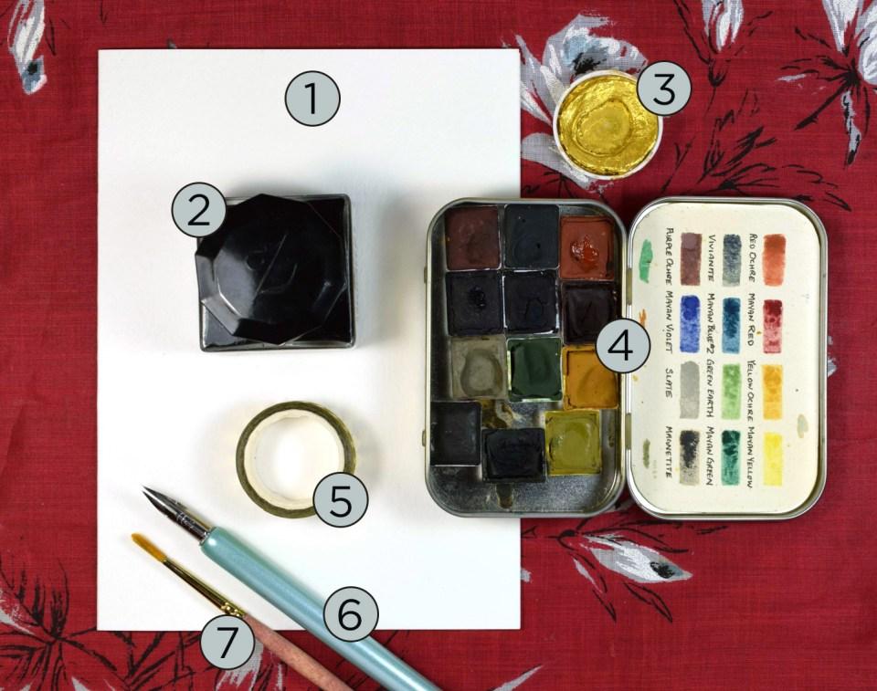 "Supplies for the ""Winter Abundance"" Watercolor Thank You Card Tutorial"