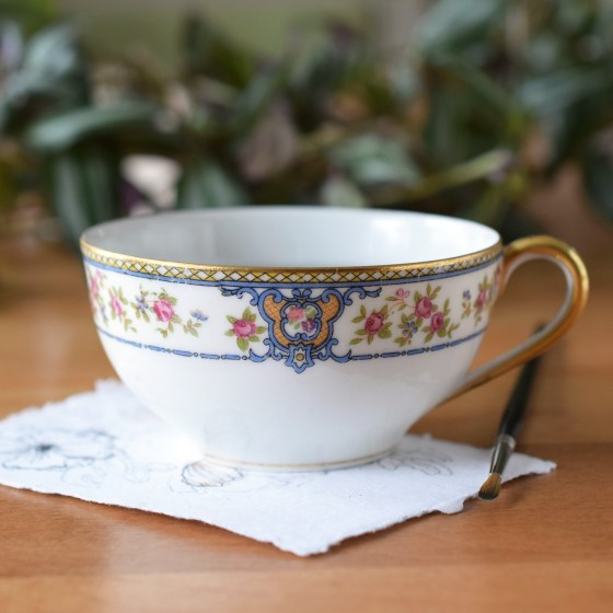 """This """"Malay"""" art water cup was made by Noritake in occupied Japan."""