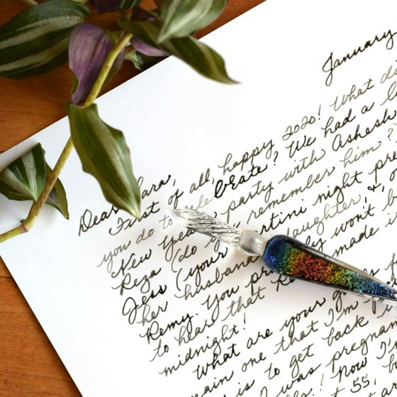 Try writing your next letter with this glass dip pen and sepia ink! The letter will have an antique look.