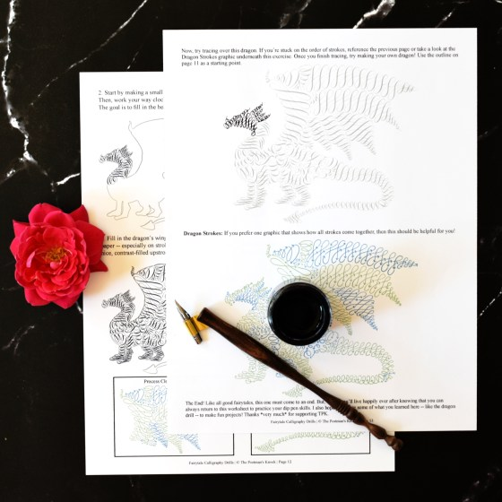 """My favorite part of the worksheet? This majestic flourished dragon! You can use him for """"real life"""" projects like greeting cards or mail art."""