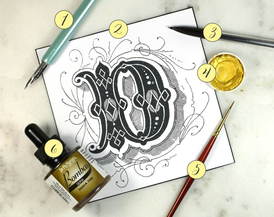 Supplies for the Next Level Illuminated Letter Tutorial