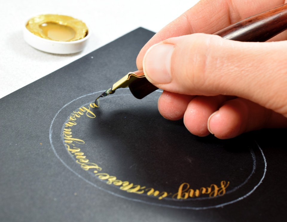 Writing Calligraphy on the Comforting Card