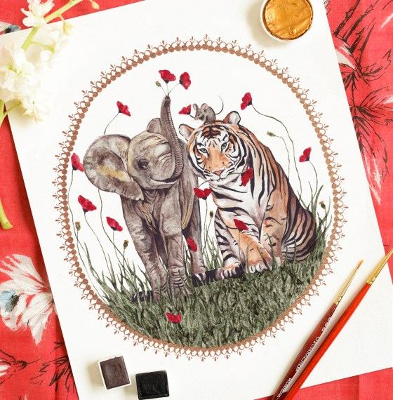 This Tiger, Elephant, Mouse art print was made from a TPK original painting.