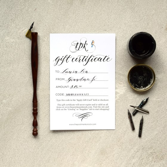 TPK's gift certificate is the perfect gift for anyone with an interest in art or calligraphy!