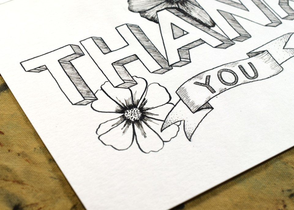 Florals for Printable Thank You Card