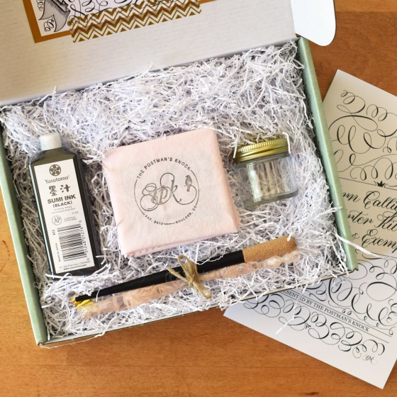 This special edition calligraphy kit comes with a Pretty in Pink Nikko G oblique pen, a black cork-tipped straight pen, and a pink cleaning cloth.