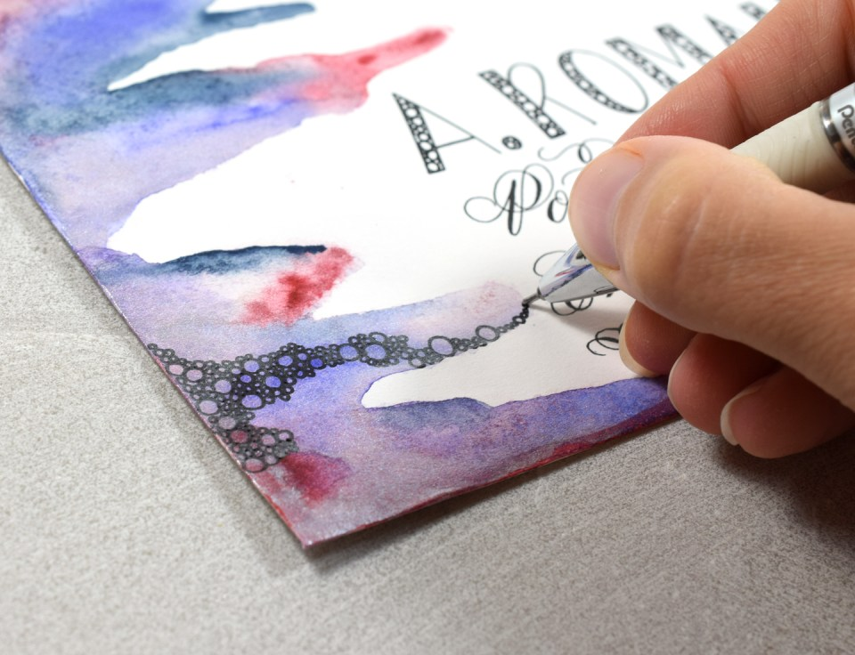 Drawing Bubbles on Funky Envelope Art