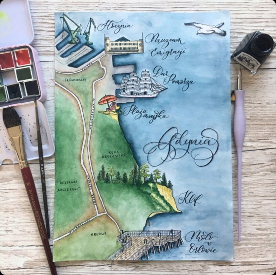 Student Kasia made this watercolor map of Gdynia, Poland. I love its calming color scheme!