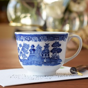 This art water cup features a detailed blue pattern set against a clean white background.