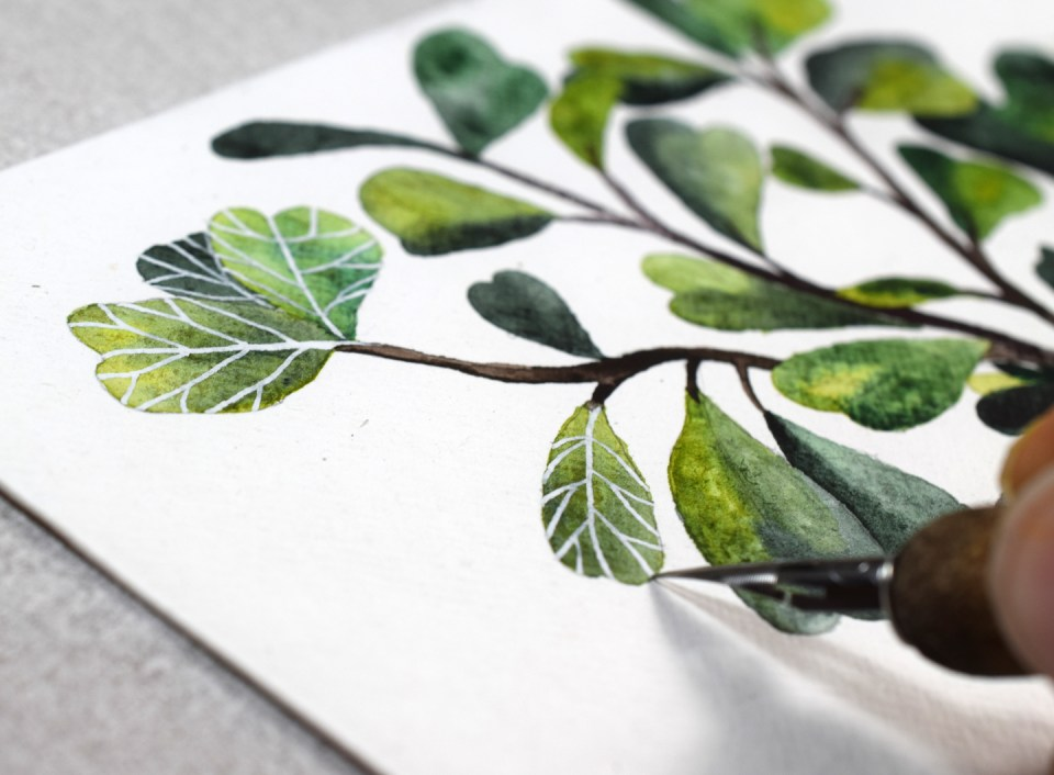 Adding Bleed Proof White Ink to the Leaves