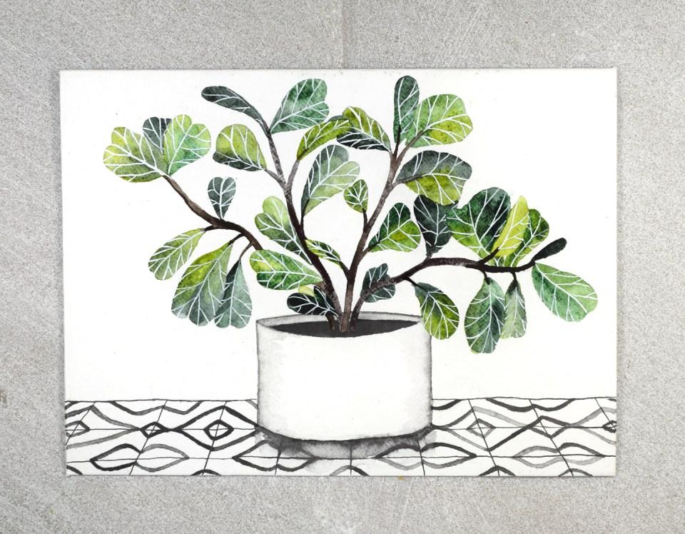 Fiddle Leaf Fig Envelope Art Tutorial