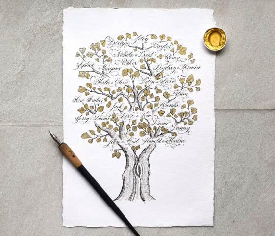 How to Make a Gorgeous Calligraphy Family Tree