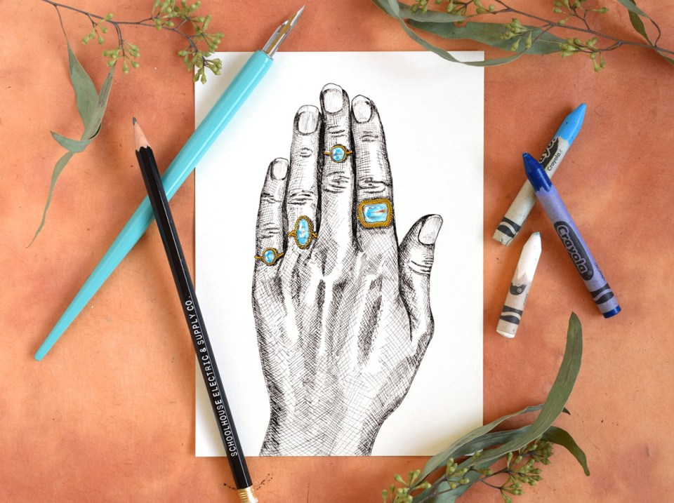 Crosshatched Hand