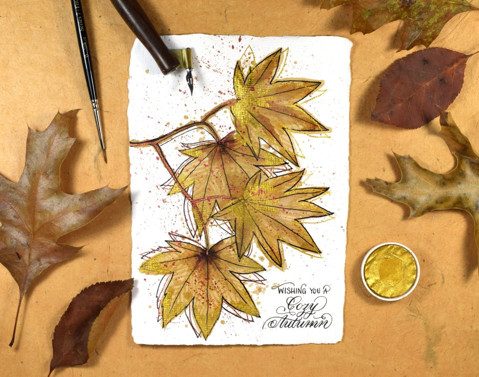 Coffee Stained Autumn Greeting Card Tutorial