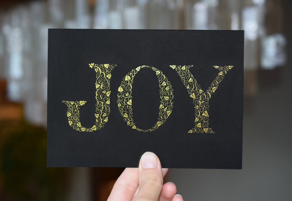"""Joy"" Elegant Gold Christmas Card Tutorial"