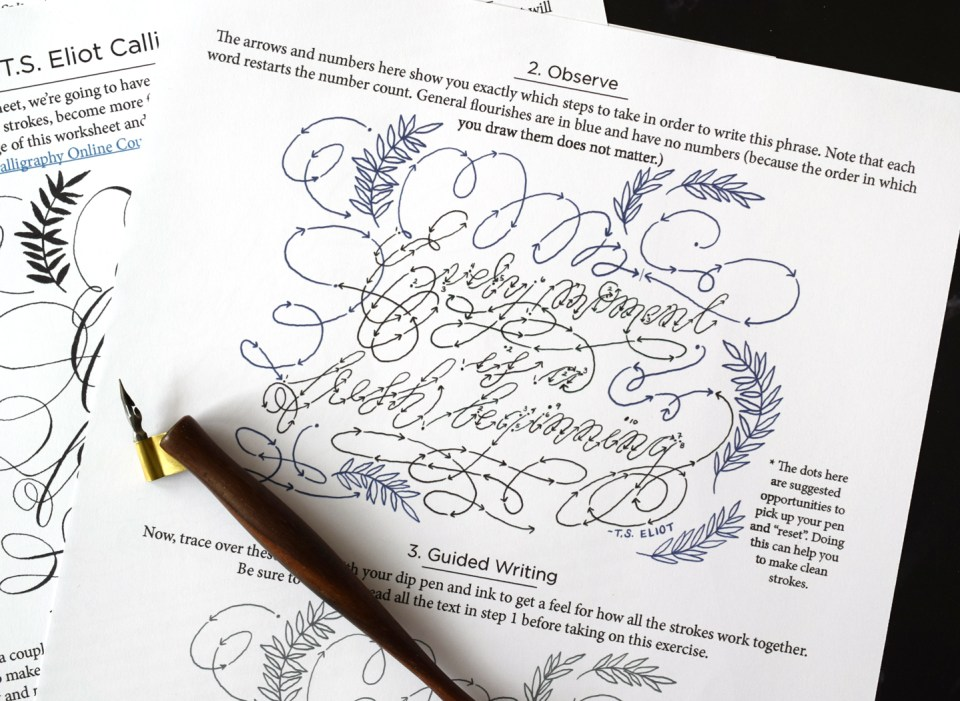 Free Embellished Quote Calligraphy Worksheet