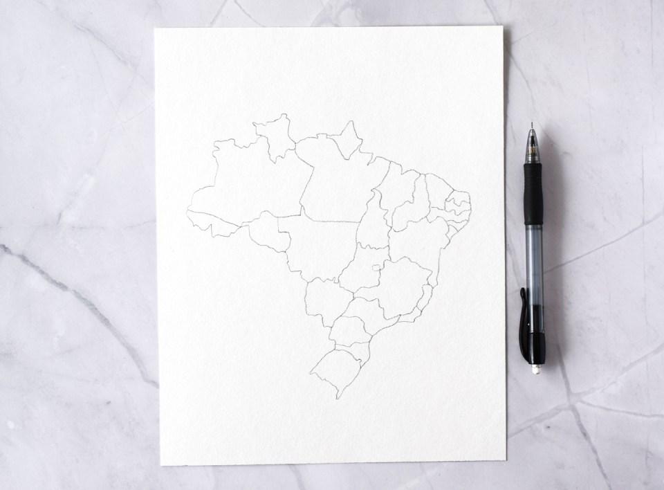 Brazil Pencil Outline