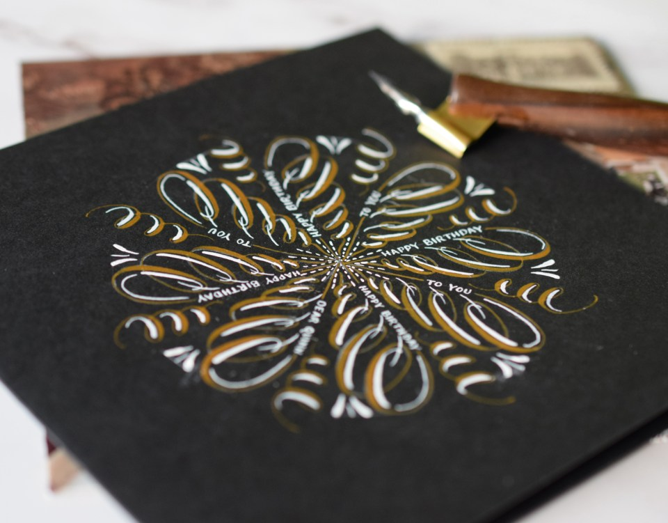 Marvelous Medallion Calligraphy Birthday Card Tutorial