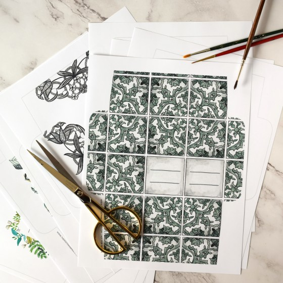 All templates are easy to cut, fold, and glue in order to make gorgeous instant mail art!
