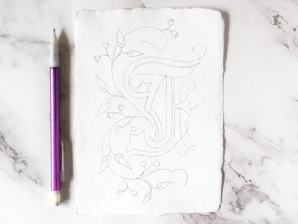 Botanical Illuminated Letter Pencil Draft
