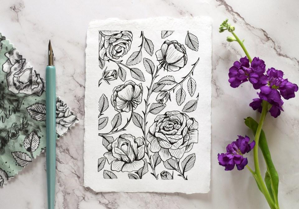 How to Make a Vintage Rose Illustration