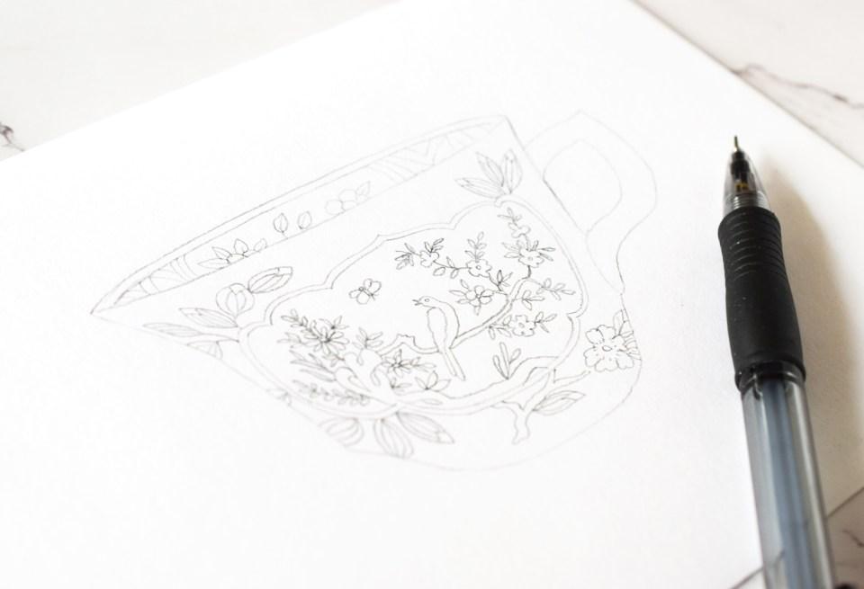 teacup illustration pencil draft